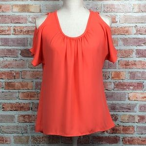 ANTHROPOLOGIE BIRD CAGE Coral Cold Shoulder Top